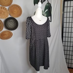 Anthro Saturday Sunday Black White Textured Dress